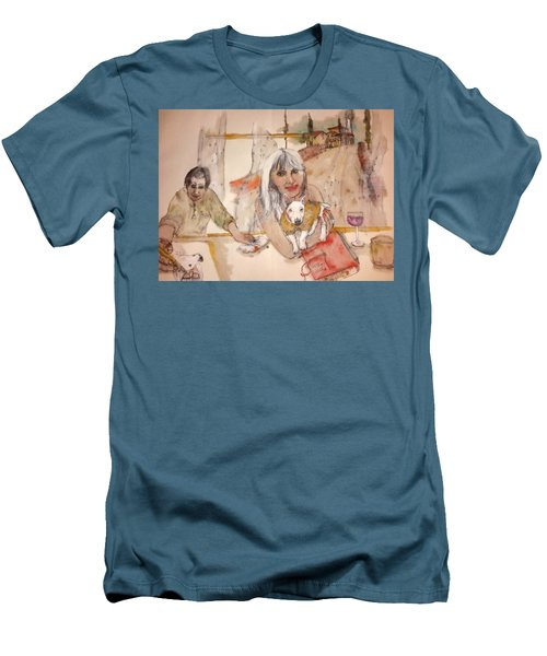 Men's T-Shirt (Slim Fit) featuring the painting Italy Love Life And  Linguini Album by Debbi Saccomanno Chan