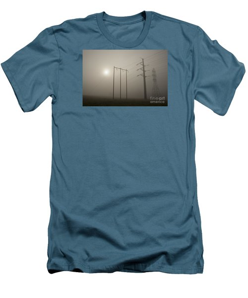 Large Transmission Towers In Fog Men's T-Shirt (Athletic Fit)