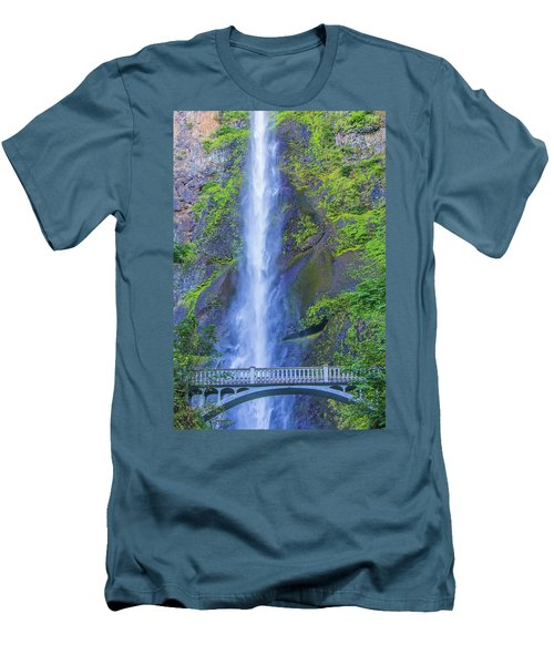 Men's T-Shirt (Athletic Fit) featuring the photograph Multnomah Falls Bridge by Jonny D
