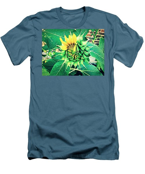 Men's T-Shirt (Slim Fit) featuring the photograph Peeping Sunflower by Angela Annas