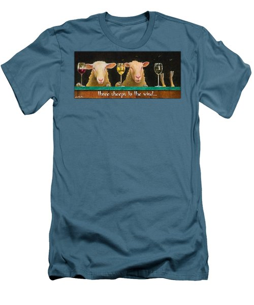 Three Sheeps To The Wind... Men's T-Shirt (Slim Fit) by Will Bullas