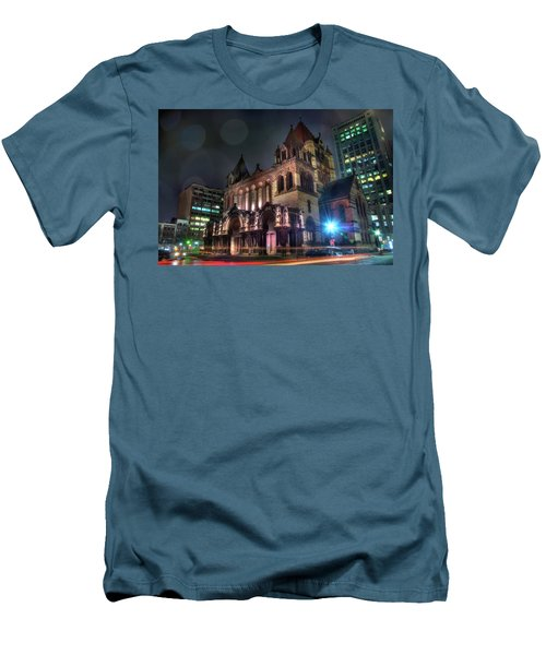 Men's T-Shirt (Slim Fit) featuring the photograph Trinity Church - Copley Square Boston by Joann Vitali
