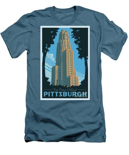 Vintage Style Pittsburgh Travel Poster Men's T-Shirt (Slim Fit) by Jim Zahniser