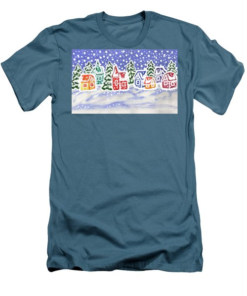 Winter Landscape With Multicolor Houses, Painting Men's T-Shirt (Slim Fit) by Irina Afonskaya