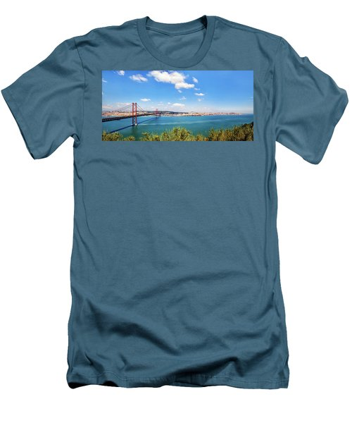Men's T-Shirt (Slim Fit) featuring the photograph 25th April Bridge Lisbon by Marion McCristall