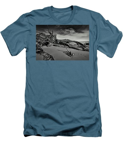 Men's T-Shirt (Athletic Fit) featuring the photograph Black Rock Beach by Peter Lakomy