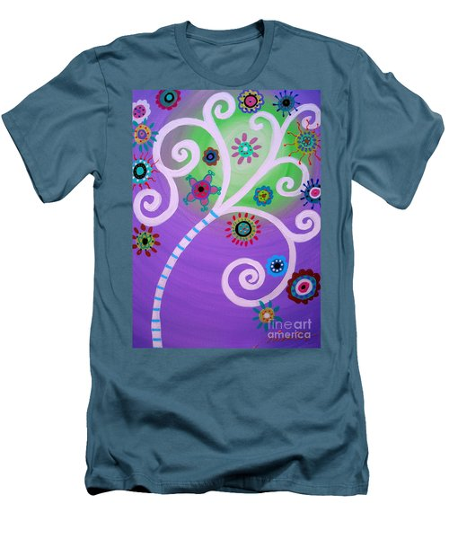 Men's T-Shirt (Slim Fit) featuring the painting Tree Of Life by Pristine Cartera Turkus