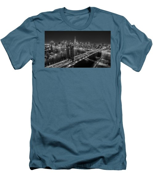 Men's T-Shirt (Slim Fit) featuring the photograph New York City, Manhattan Bridge At Night by Petr Hejl