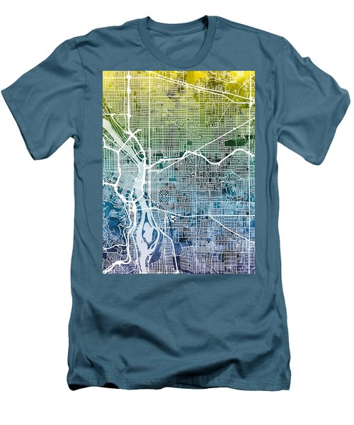 Men's T-Shirt (Slim Fit) featuring the digital art Portland Oregon City Map by Michael Tompsett