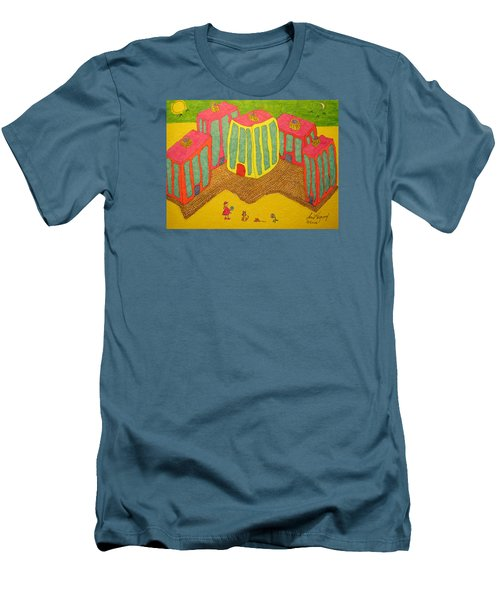 4 Tall Buildings, Girl, And Cat Men's T-Shirt (Athletic Fit)