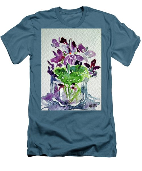 Men's T-Shirt (Slim Fit) featuring the painting Violet by Kovacs Anna Brigitta