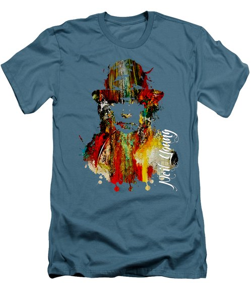 Neil Young Collection Men's T-Shirt (Slim Fit) by Marvin Blaine
