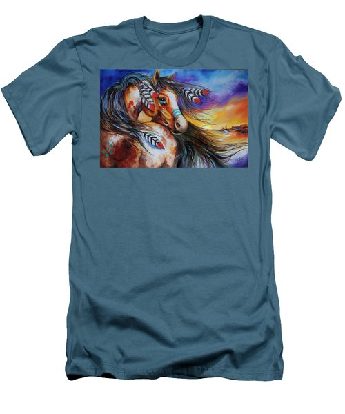5 Feathers Indian War Horse Men's T-Shirt (Slim Fit) by Marcia Baldwin