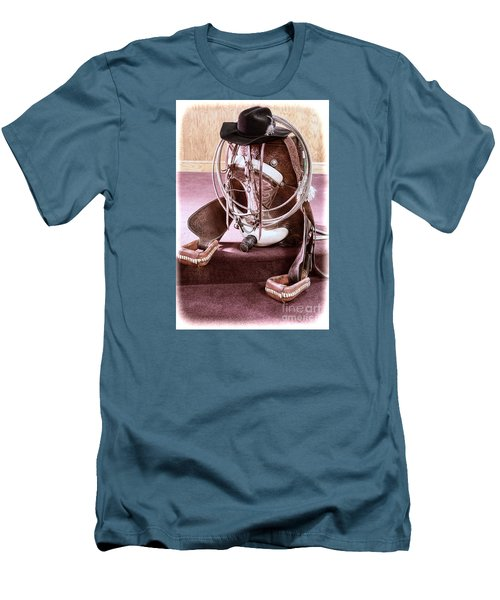 Men's T-Shirt (Slim Fit) featuring the photograph A Cowgirl's Gear by Lawrence Burry