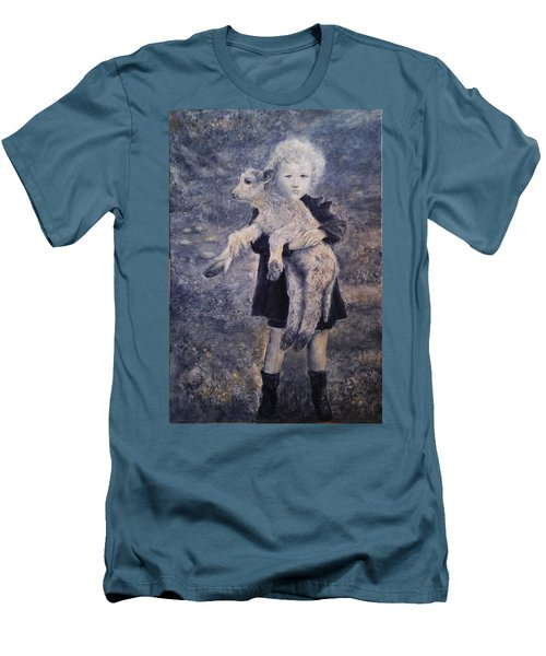 A Girl With A Lamb Men's T-Shirt (Athletic Fit)