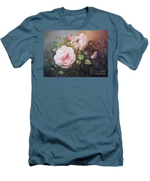Men's T-Shirt (Slim Fit) featuring the painting A Moment In Time by Patricia Schneider Mitchell