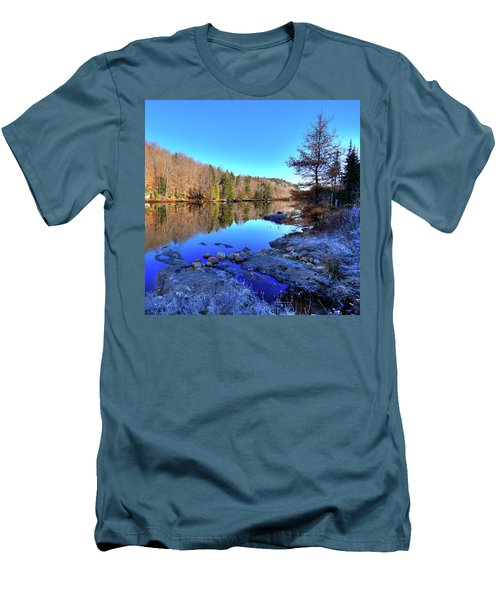 Men's T-Shirt (Slim Fit) featuring the photograph A November Morning On The Pond by David Patterson