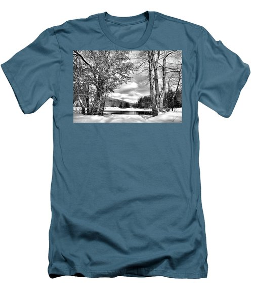 A Peek At Winter Men's T-Shirt (Slim Fit) by David Patterson
