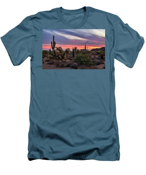 Men's T-Shirt (Athletic Fit) featuring the photograph A Pink Kissed Desert Sunset  by Saija Lehtonen