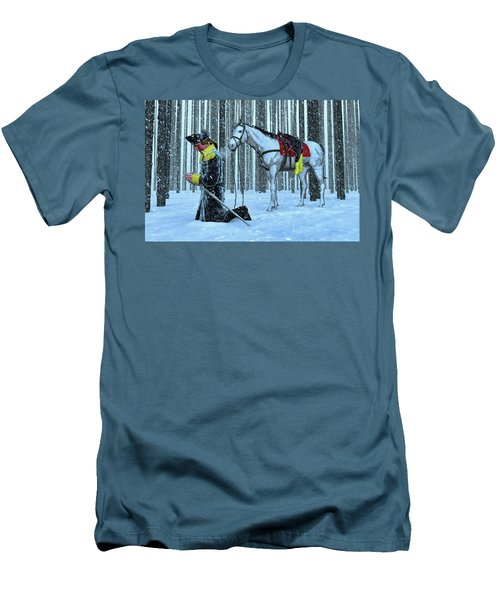 A Prayer In The Snow Men's T-Shirt (Slim Fit) by Dave Luebbert