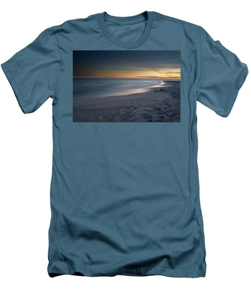 A Sandy Shoreline At Sunset Men's T-Shirt (Slim Fit) by Renee Hardison