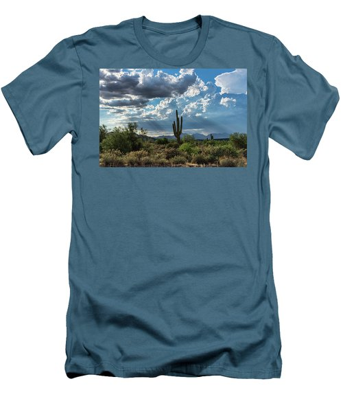 Men's T-Shirt (Athletic Fit) featuring the photograph A Summer Day In The Sonoran  by Saija Lehtonen