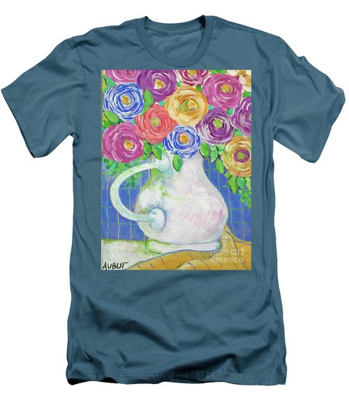 A Vase Full Of Happiness Men's T-Shirt (Slim Fit) by Rosemary Aubut