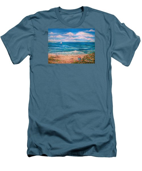 A Walk In The Sand Men's T-Shirt (Slim Fit) by Dee Davis