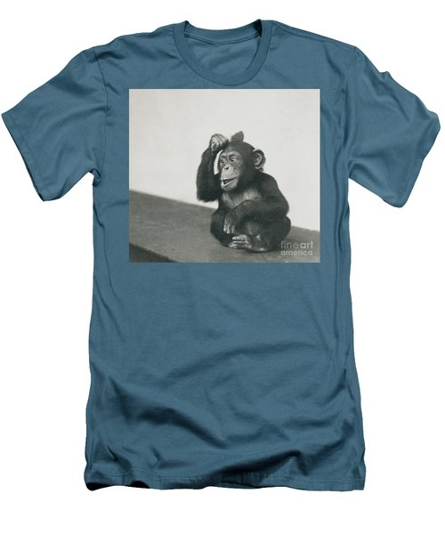 A Young Chimpanzee Playing With A Brush Men's T-Shirt (Athletic Fit)