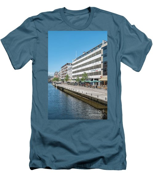 Men's T-Shirt (Slim Fit) featuring the photograph Aarhus Canal Scene by Antony McAulay