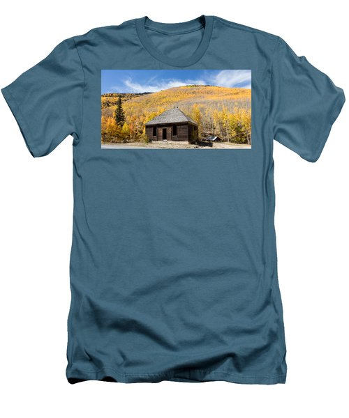 Men's T-Shirt (Slim Fit) featuring the photograph Abandoned Cabin Near The Old Mining Town Of Ironton by Carol M Highsmith