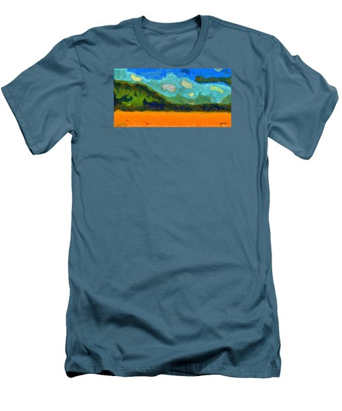 Men's T-Shirt (Slim Fit) featuring the digital art Above The Woods by Spyder Webb