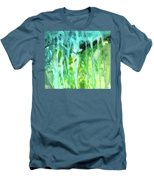 Abstract Art Waterfall Men's T-Shirt (Slim Fit) by Saribelle Rodriguez