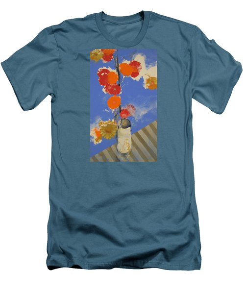 Men's T-Shirt (Slim Fit) featuring the painting Abstracted Flowers In Ceramic Vase  by Cliff Spohn