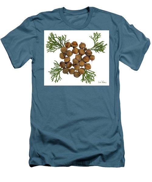 Men's T-Shirt (Slim Fit) featuring the digital art Acorns With Cedar by Lise Winne