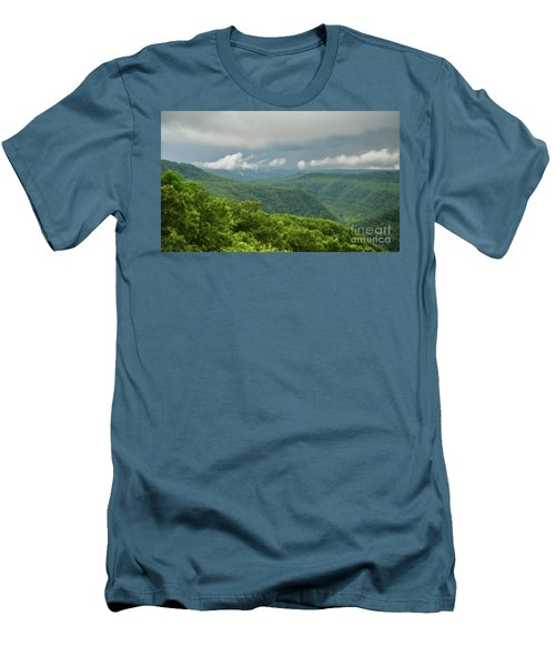 Men's T-Shirt (Athletic Fit) featuring the photograph After The Rain - The Bluestone Gorge At Pipestem State Park by Kerri Farley
