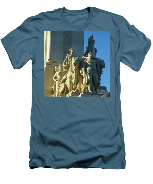 Men's T-Shirt (Athletic Fit) featuring the photograph Agriculture Allegorie Monument To The Constitution Of 1812 Cadiz Spain by Pablo Avanzini