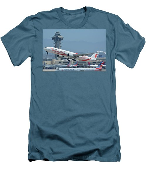 Men's T-Shirt (Slim Fit) featuring the photograph Air China Boeing 777-39ler B-2035 Smiling China Los Angeles International Airport May 3 2016 by Brian Lockett