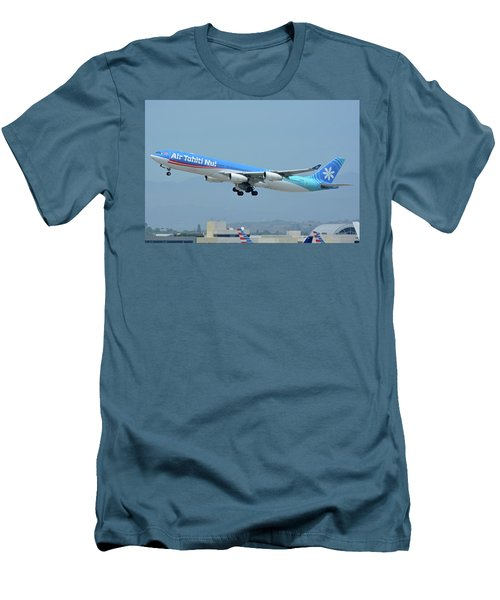 Men's T-Shirt (Slim Fit) featuring the photograph Air Tahiti Nui Airbus A340-313x F-osea Los Angeles International Airport May 3 2016 by Brian Lockett