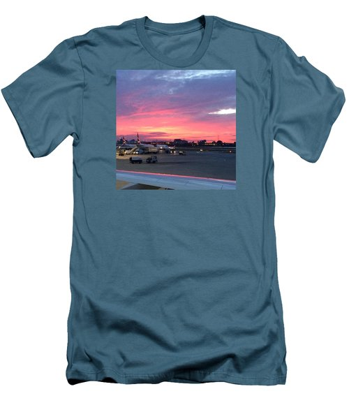 London City Airport Sunset Men's T-Shirt (Slim Fit) by Patsy Jawo