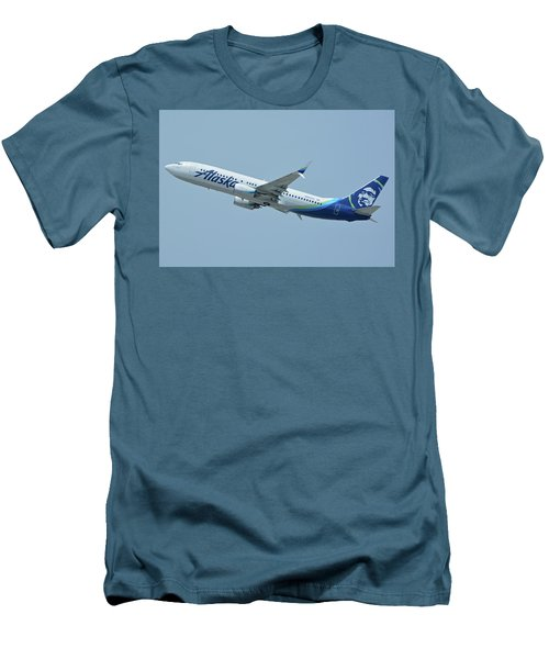 Men's T-Shirt (Slim Fit) featuring the photograph Alaska Boeing 737-890 N563as Los Angeles International Airport May 3 2016 by Brian Lockett