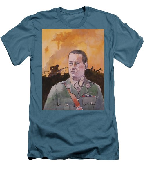 Men's T-Shirt (Slim Fit) featuring the painting Albert Jaka Vc by Ray Agius