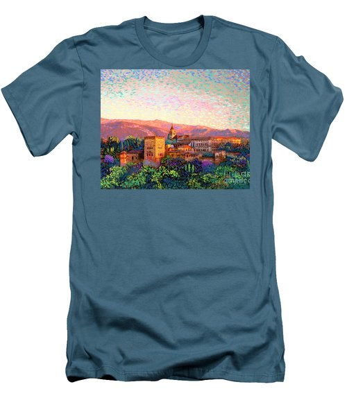 Men's T-Shirt (Slim Fit) featuring the painting Alhambra, Grenada, Spain by Jane Small