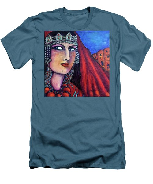 Men's T-Shirt (Slim Fit) featuring the painting Amazigh Beauty 1 by Rae Chichilnitsky