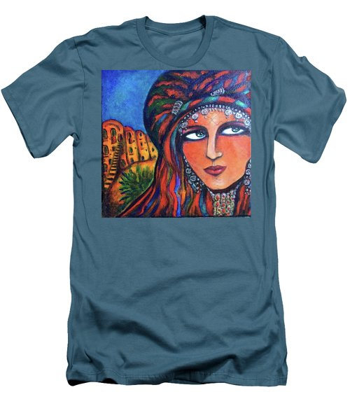 Men's T-Shirt (Slim Fit) featuring the painting Amazigh Beauty 2 by Rae Chichilnitsky