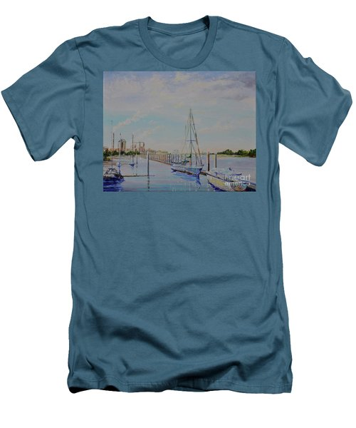 Men's T-Shirt (Slim Fit) featuring the painting Amelia Island Port by AnnaJo Vahle