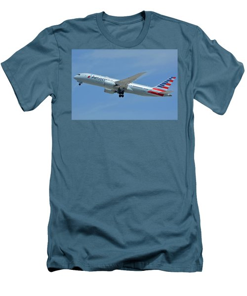 Men's T-Shirt (Slim Fit) featuring the photograph American Boeing 787-8 N808an Los Angeles International Airport May 3 2016 by Brian Lockett