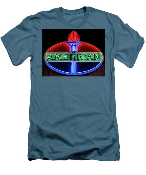 Men's T-Shirt (Slim Fit) featuring the photograph American Oil Sign by Sandy Keeton