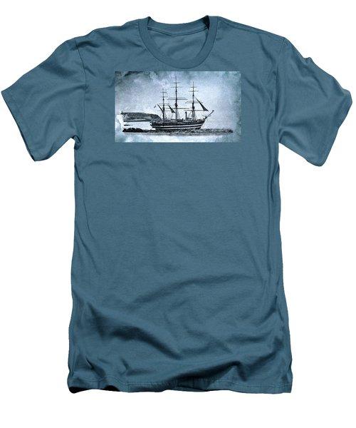 Amerigo Vespucci Sailboat In Blue Men's T-Shirt (Slim Fit) by Pedro Cardona