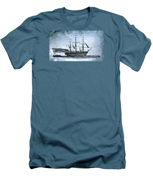 Amerigo Vespucci Sailboat In Blue Men's T-Shirt (Athletic Fit)